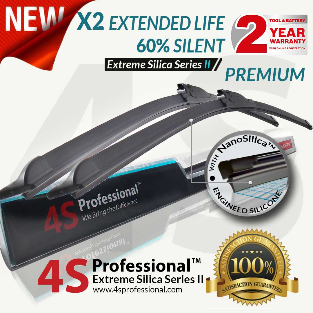 Volkswagen Magoton 2007-2013 4S Professional Extreme Silica Series II Wiper Silicone Blades (1 pair) 2 Years Warranty - Car Accessories