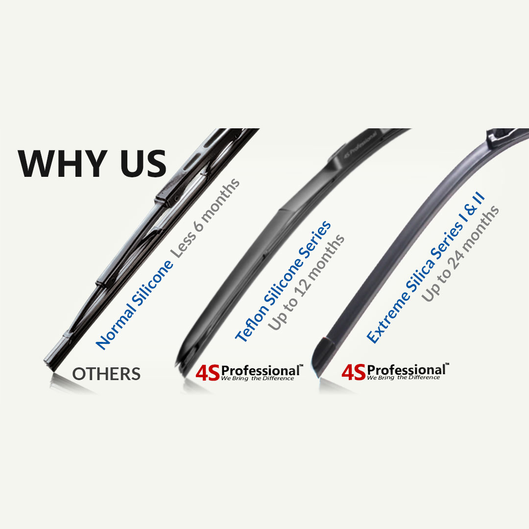 Volkswagen Touareg 2008-2016 4S Professional Extreme Silica Series II Wiper Silicone Blades (1 pair) 2 Years Warranty - Car Accessories